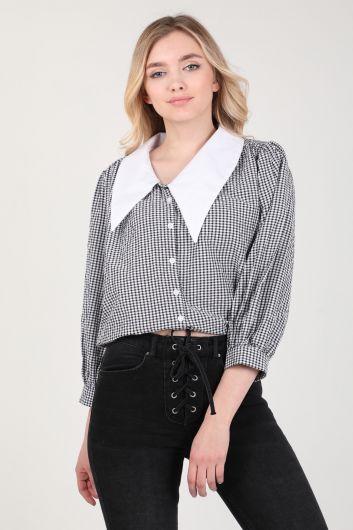 Женская рубашка в мелкую клетку с воротником-стойкой - Thumbnail
