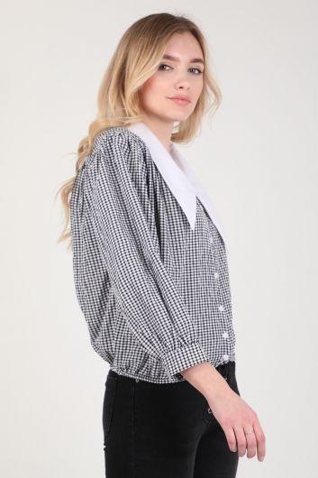 MARKAPIA WOMAN - Женская рубашка в мелкую клетку с воротником-стойкой (1)