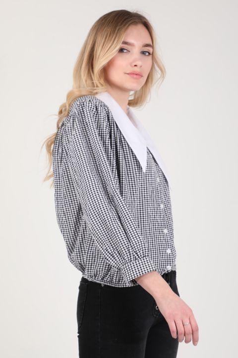 Женская рубашка в мелкую клетку с воротником-стойкой