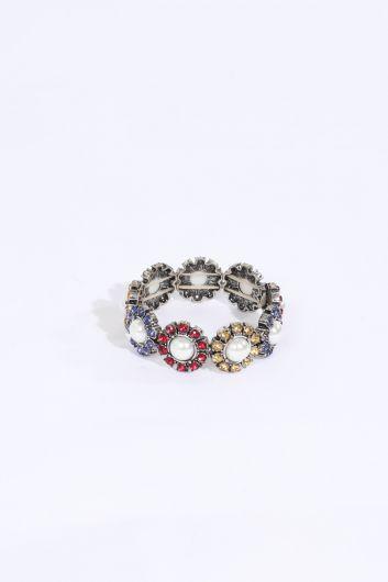 Женский эластичный браслет с камнями - Thumbnail
