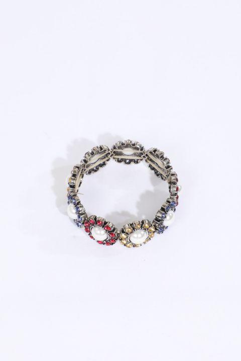 Женский эластичный браслет с камнями