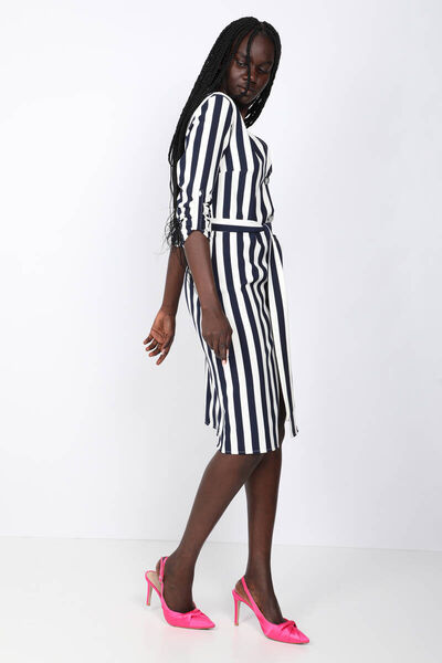 MARKAPIA WOMAN - Women's Striped Buttoned V-Neck Dress (1)