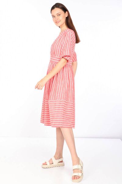 MARKAPIA WOMAN - Women's Striped Double Breasted Collar Dress (1)