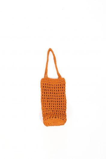Women's Macrame Cylinder Hand Bag - Thumbnail