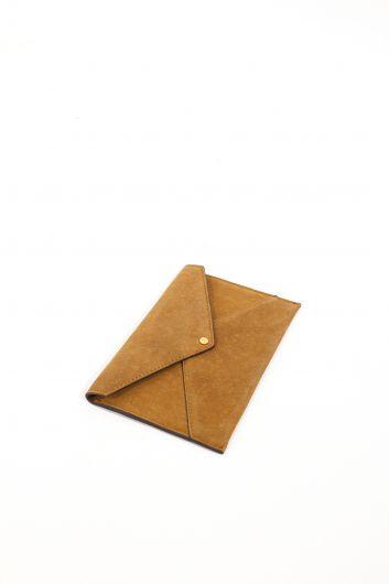 حقيبة محفظة نسائية من الجلد المدبوغ بلون أسمر - Thumbnail