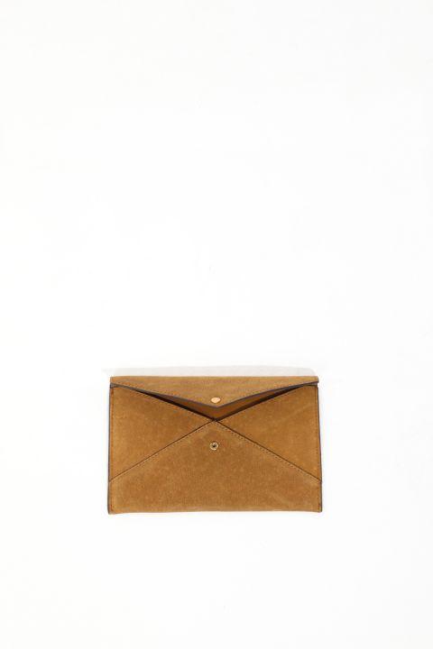 حقيبة محفظة نسائية من الجلد المدبوغ بلون أسمر