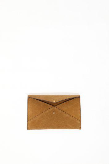 MARKAPIA WOMAN - Женская светло-коричневая замшевая сумка-портфель-конверт (1)