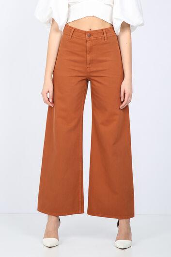 Women Tan Wide Leg Jean Trousers - Thumbnail