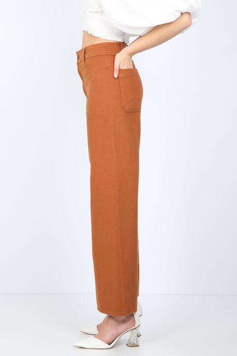Women Tan Wide Leg Jean Trousers
