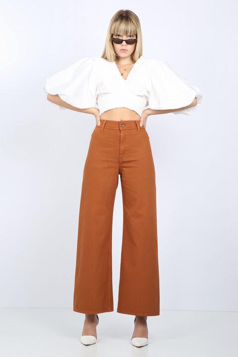 Женские коричневые широкие джинсовые брюки