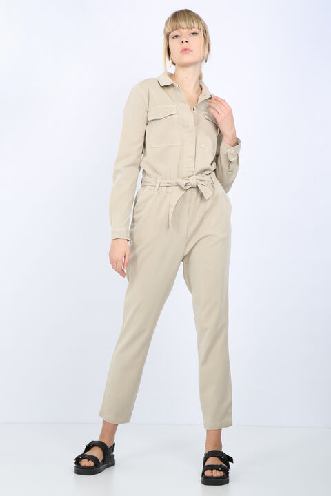 Women's Stone Pocket Belted Jumpsuit Trousers