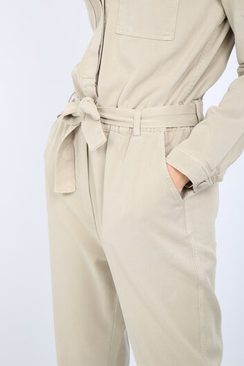 Women's Stone Pocket Belted Jumpsuit Trousers - Thumbnail