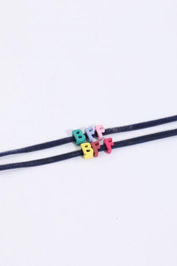 Женский тонкий браслет с мини-буквами - Thumbnail