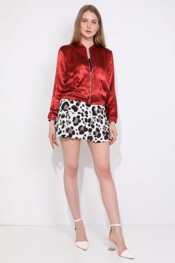 Женская куртка-бомбер на молнии с отделкой из плитки и оборками - Thumbnail