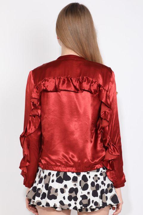 Women's Tile Ruffle Detail Zipper Bomber Jacket