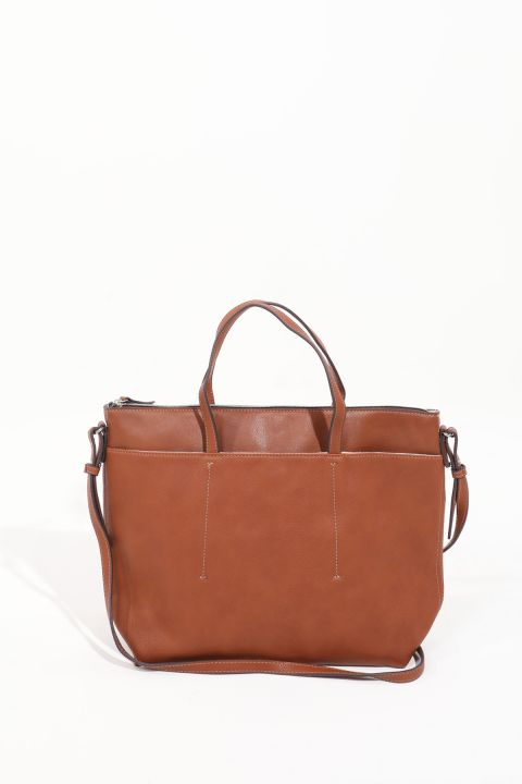 Women's Tan Compartment Leather Tote Bag