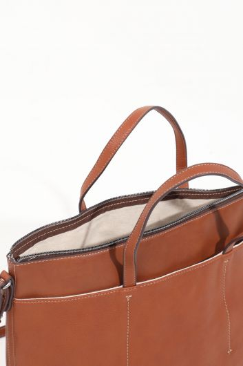 Women's Tan Compartment Leather Tote Bag - Thumbnail