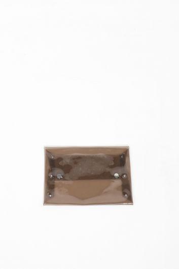 Женская прозрачная ручная сумка-конверт - Thumbnail