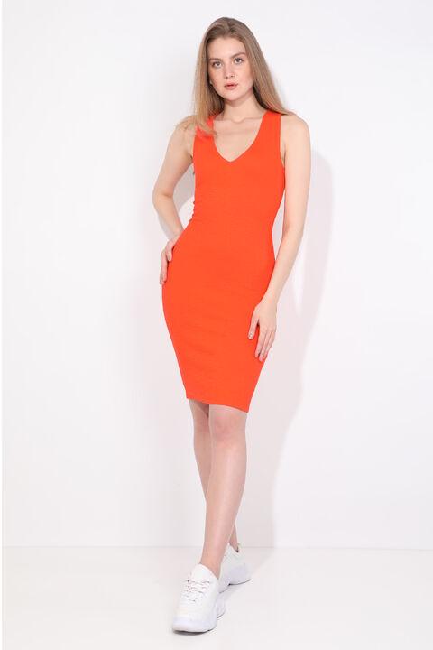 Women's V Neck Orange Slim Fit Dress