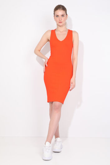 Women's V Neck Orange Slim Fit Dress - Thumbnail