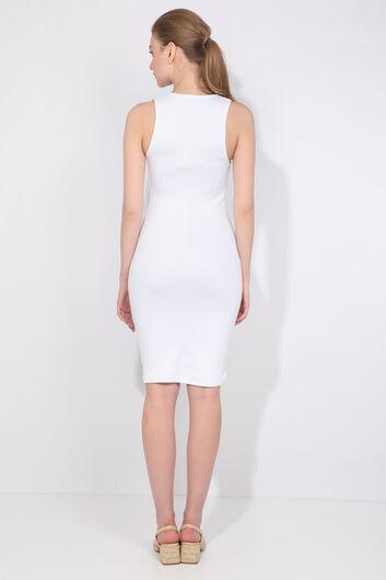 فستان نسائي بياقة على شكل V أبيض نحيف - Thumbnail