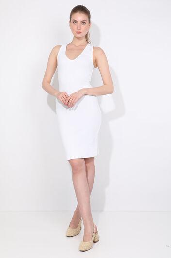 Women's V Neck White Slim Fit Dress - Thumbnail