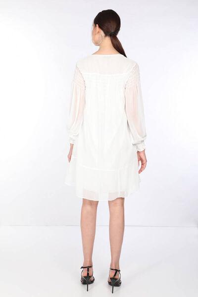 MARKAPIA WOMAN - Женское белое шифоновое платье на пуговицах (1)