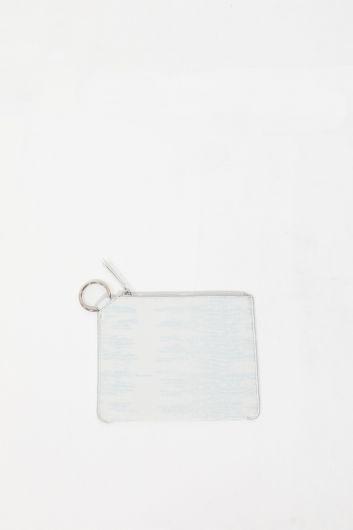 Белая женская сумка с кольцами и узором под крокодил - Thumbnail