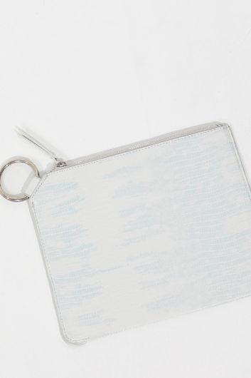 MARKAPIA WOMAN - Белая женская сумка с кольцами и узором под крокодил (1)