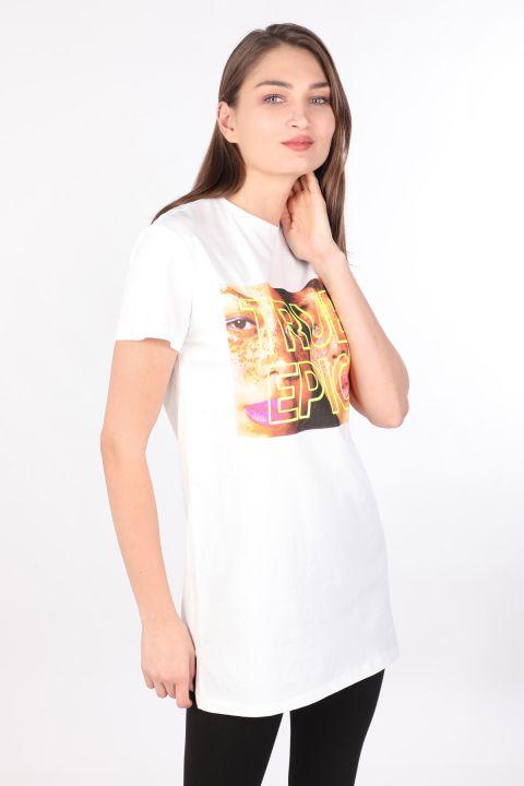 Women's Crew NeckPrinted Long T-shirt White