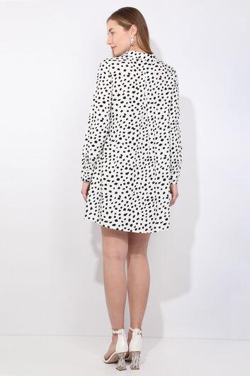 Women's White Dalmatian Patterned Long Shirt - Thumbnail