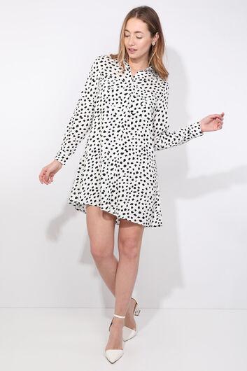Женская белая длинная рубашка с далматинским узором - Thumbnail