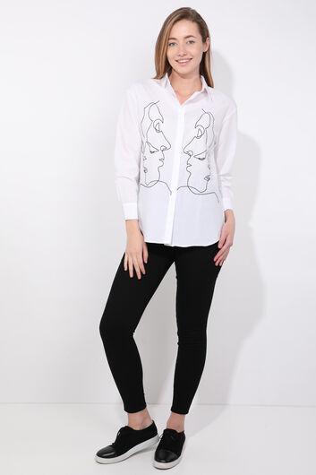 قميص نسائي أبيض الشكل - Thumbnail