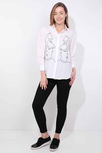 Women's White Figured Shirt - Thumbnail