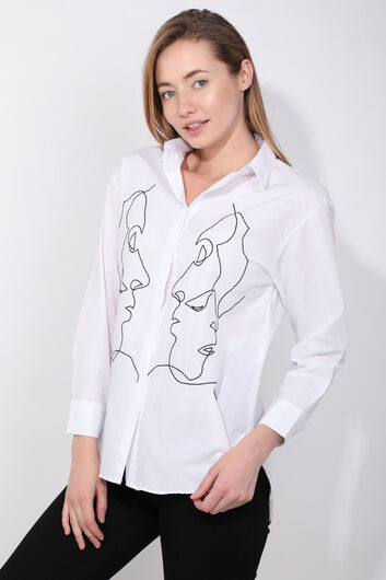 MARKAPIA WOMAN - Женская белая фигурная рубашка (1)