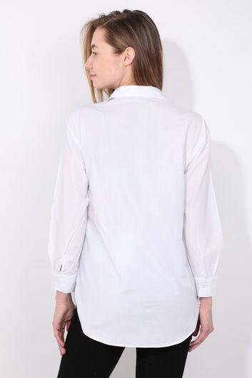 Женская белая фигурная рубашка - Thumbnail