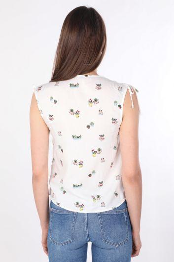 Женская рубашка без рукавов с V-образным вырезом и цветочным принтом Белая - Thumbnail