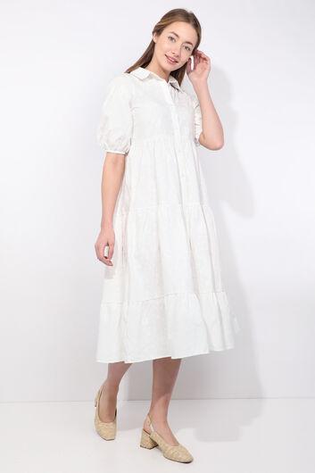 MARKAPIA WOMAN - Женское белое платье с принтом с половиной рукавов и рисунком (1)