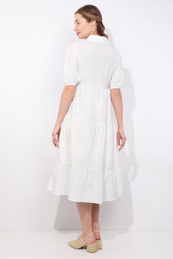 Women's White Half Sleeve Print Pattern Dress - Thumbnail