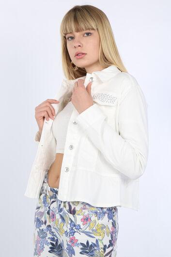 BLUE WHITE - Women's White Gathered Detail Stone Jacket (1)