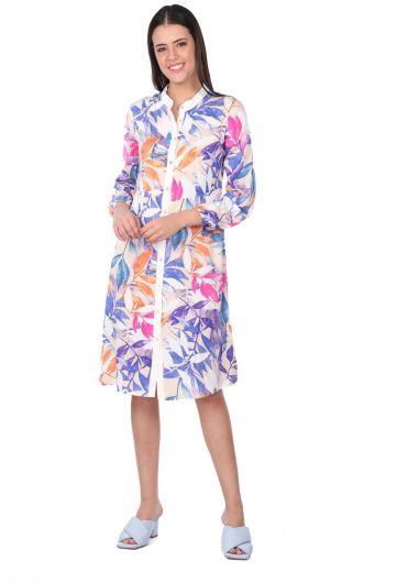 فستان قميص نسائي بأزرار على شكل أوراق بيضاء - Thumbnail