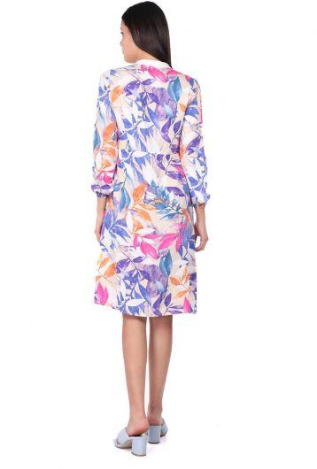 MARKAPIA WOMAN - Женское платье-рубашка с белыми листьями и пуговицами (1)