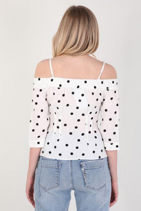 Women's White Polka-dot Suspender Shirt