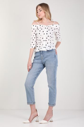 Women's White Polka-dot Suspender Shirt - Thumbnail