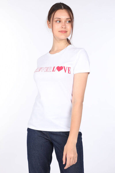 MARKAPIA WOMAN - Women's White Letter Printed Crew Neck T-shirt (1)