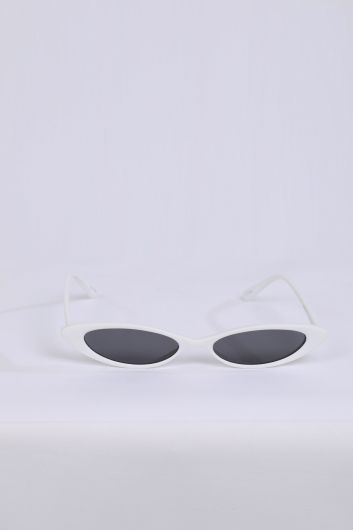 Women's White Retro Sunglasses - Thumbnail