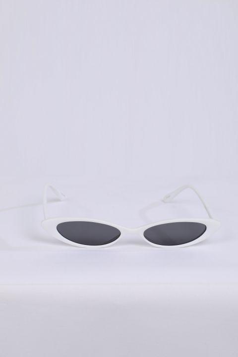 Women's White Retro Sunglasses