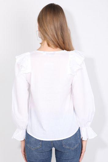 Women's White Stripe Lace Detailed Blouse - Thumbnail