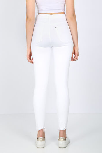 بنطلون جينز نسائي أبيض ممزق - Thumbnail