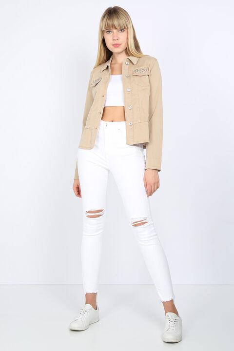 بنطلون جينز نسائي أبيض ممزق